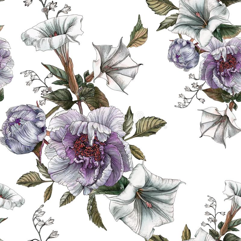 Flower seamless pattern with peonies and datura flower vector illustration