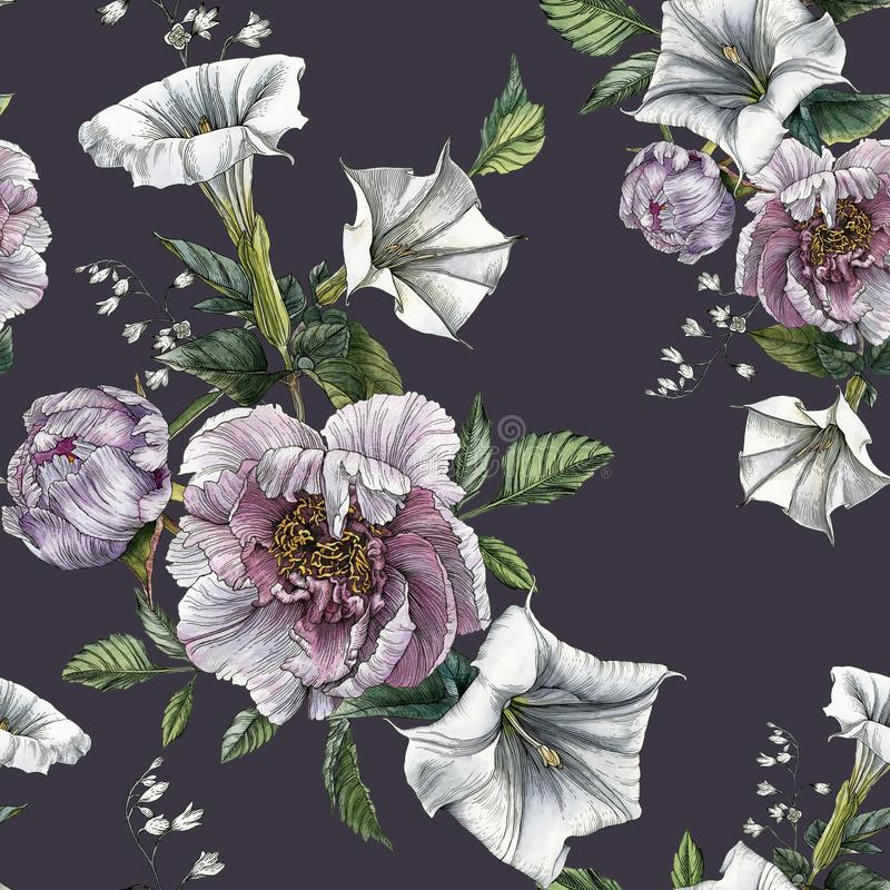 Flower seamless pattern with peonies and datura flower royalty free illustration