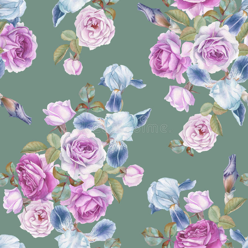 Floral seamless pattern with watercolor roses and irises. Background with flowers vector illustration