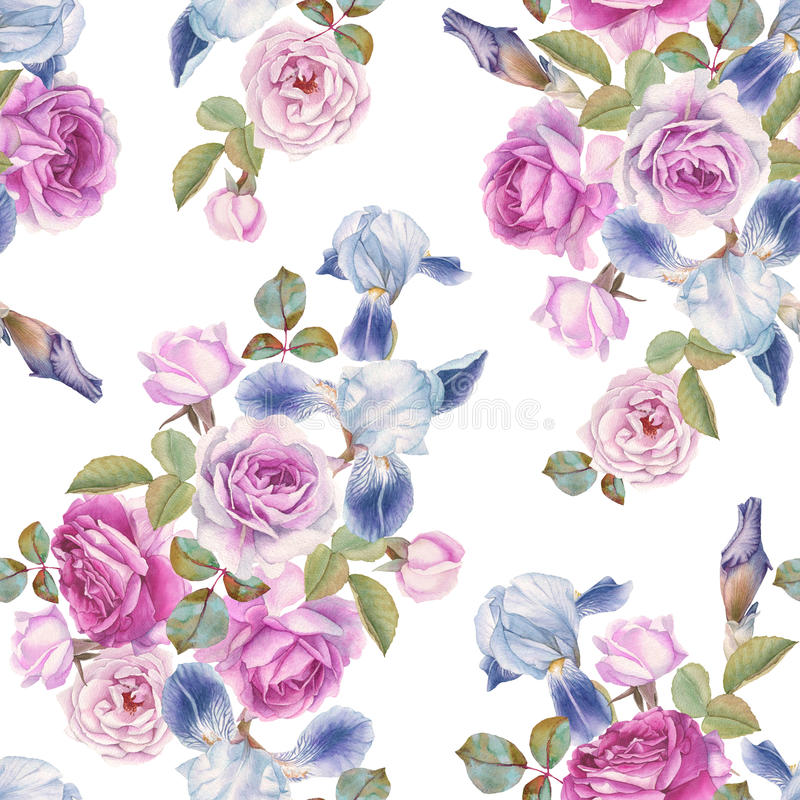 Floral seamless pattern with watercolor roses and irises. Background with flowers stock illustration