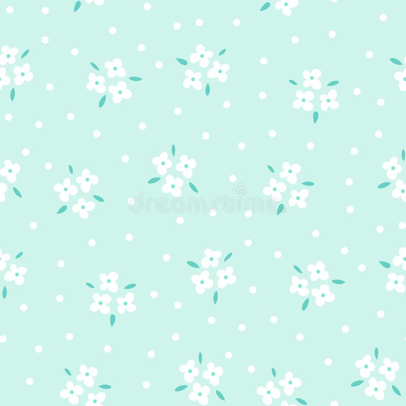 Floral seamless pattern with white flowers on blue background. Repeated light backdrop, soft textile texture. Bright vector illustration