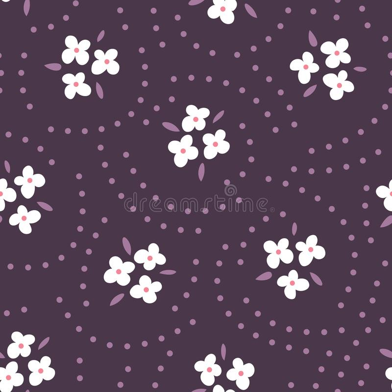 Floral seamless pattern with white flowers on purple background. Repeated backdrop, textile texture. Dark abstract vector illustration