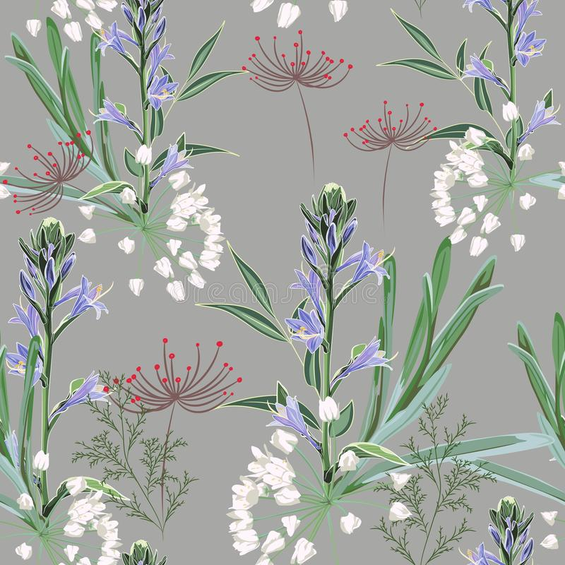 Floral seamless pattern with wild violet bels flowers branch, herbs, grasses, fern. stock illustration