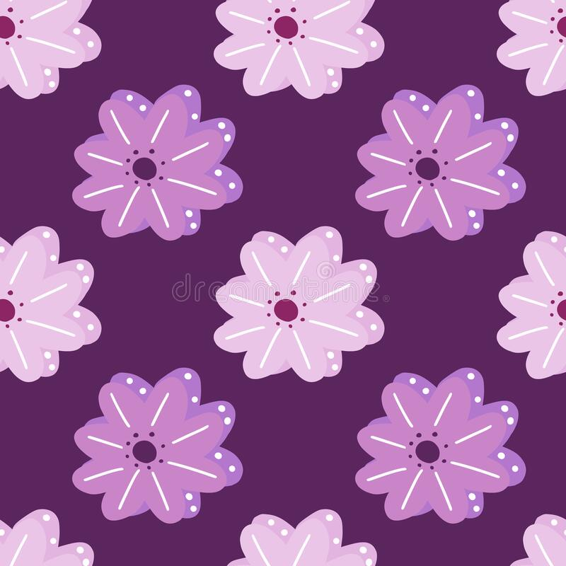 Free Floral Seamless Pattern With Scandinavian Pink And Purple Marguerite Flowers. Purple Background Royalty Free Stock Photo - 218638265