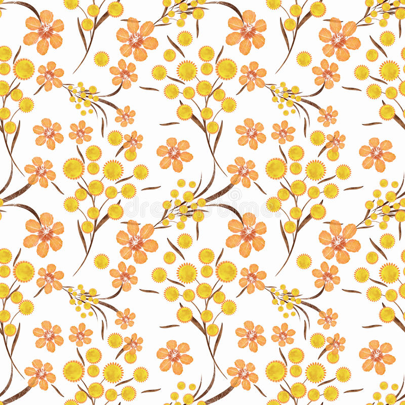 Floral seamless pattern , yellow, orange flowers white background. royalty free illustration