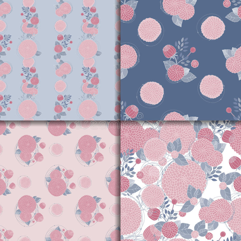 Floral seamless patterns stock illustration