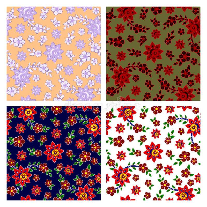 Download Floral Seamless Patterns Collection Stock Vector - Image: 22200680