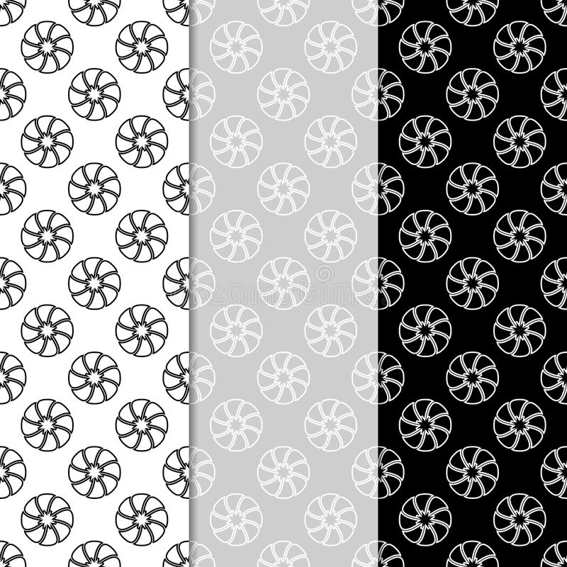 Floral seamless patterns. Set of black and white vertical wallpaper backgrounds stock illustration