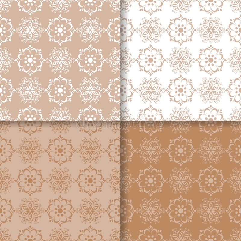 Set of floral colored seamless patterns. Brown white backgrounds vector illustration