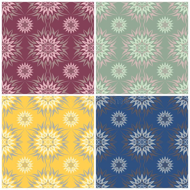 Floral seamless patterns. Set of colored backgrounds with flower elements stock illustration