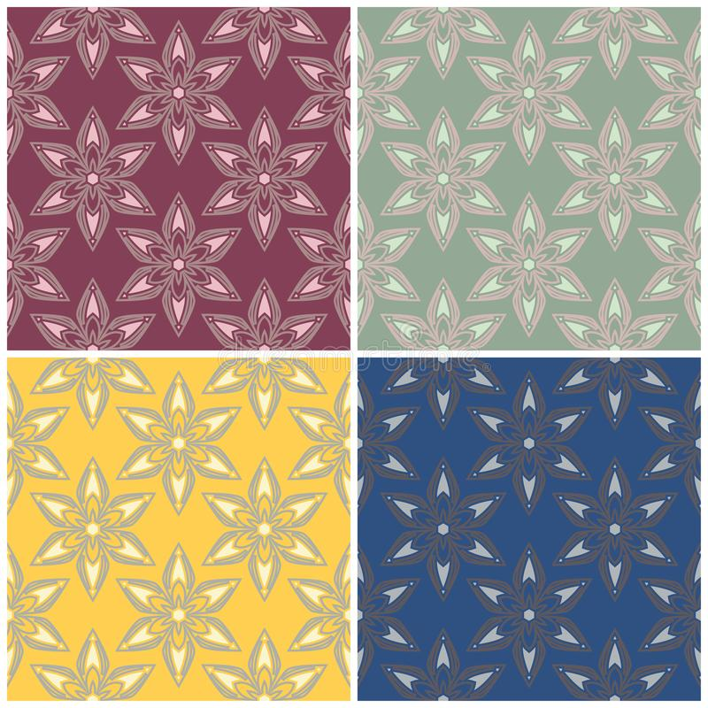 Floral seamless patterns. Set of colored backgrounds with flower elements vector illustration