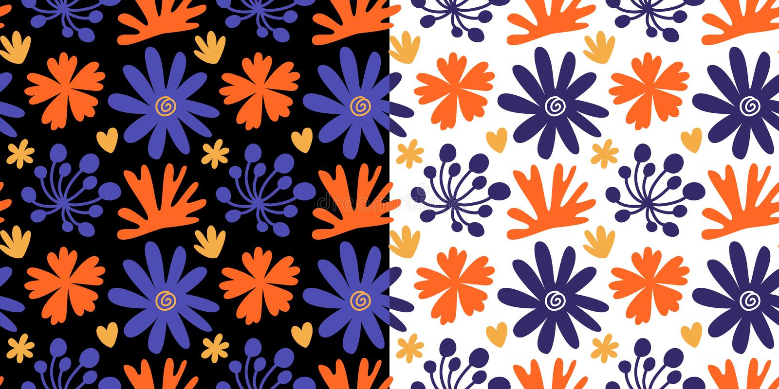 Floral seamless patterns set with colorful hand drawn flowers royalty free illustration