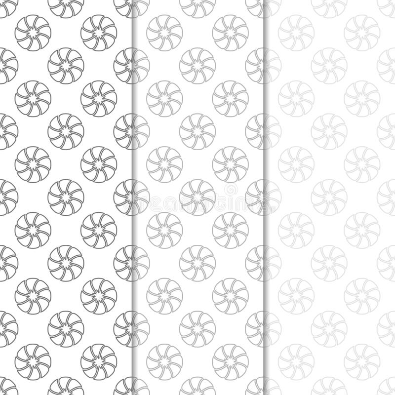 Floral seamless patterns. Set of light gray vertical wallpaper backgrounds vector illustration