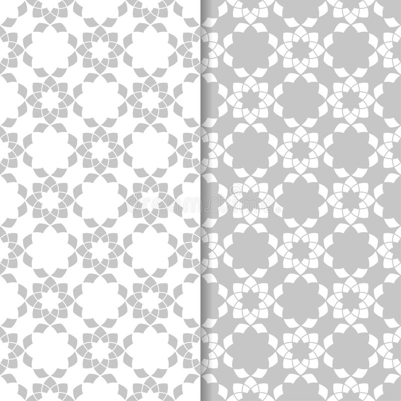 Floral seamless patterns. Set of light gray vertical wallpaper backgrounds royalty free illustration