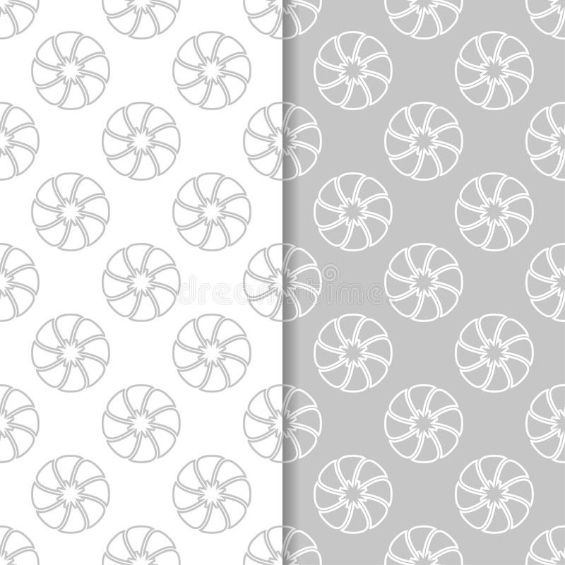 Floral seamless patterns. Set of light gray vertical wallpaper backgrounds stock illustration