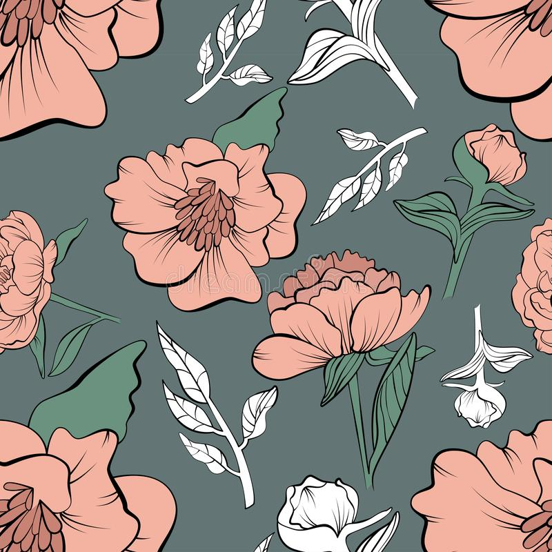 Floral seamless peony pattern drawn in sketch royalty free illustration