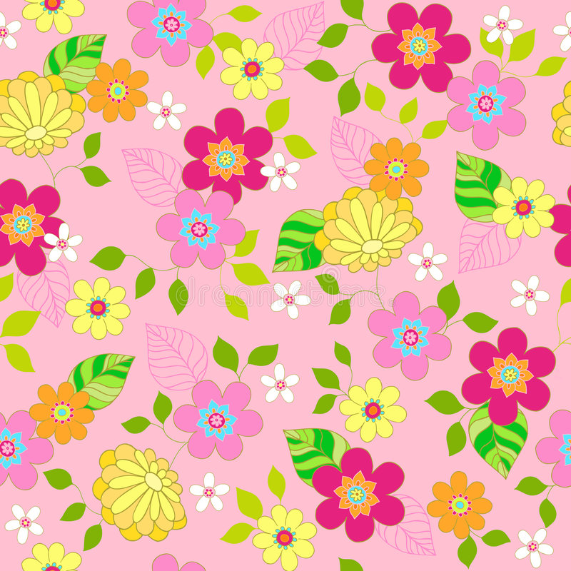Download Floral Seamless Repeat Pattern Vector Illustration Stock Vector - Image: 6616840