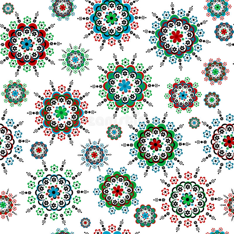 Floral seamless with round colorful flowers vector illustration