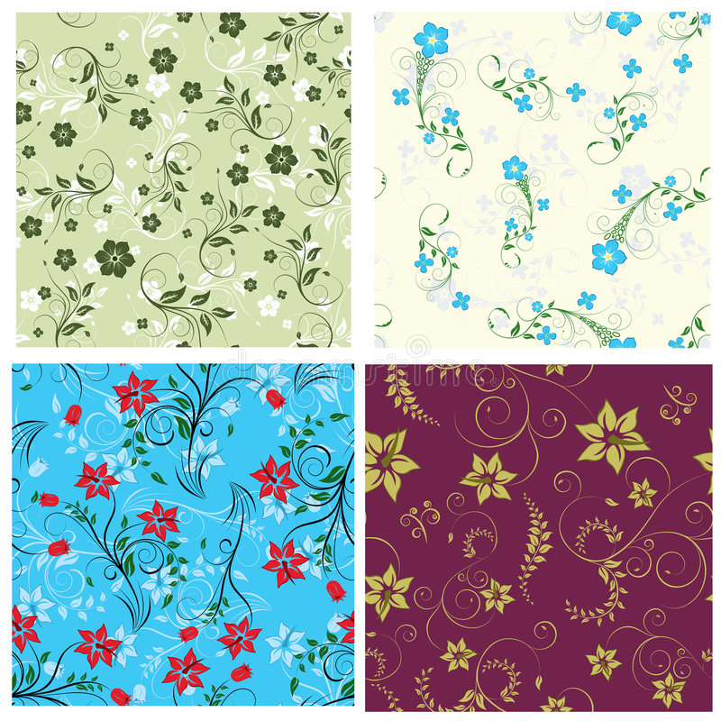 Floral seamless set. Floral seamless background for yours design use. For easy making seamless pattern just drag one of groups into swatches bar, and use it for
