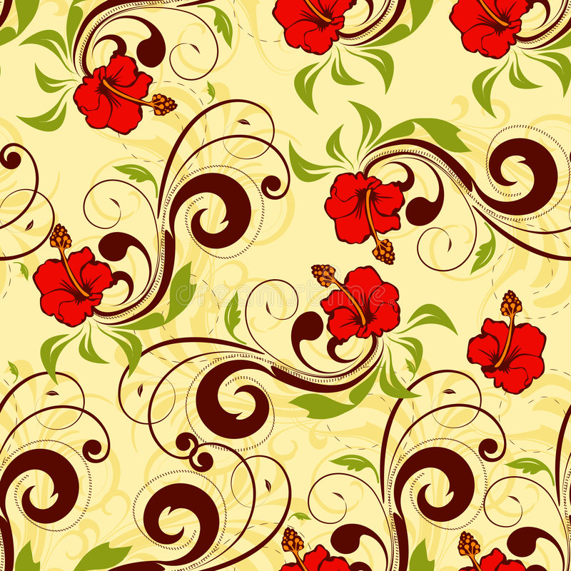 Floral seamless vector. Seamless background with swirly floral decorative elements vector illustration