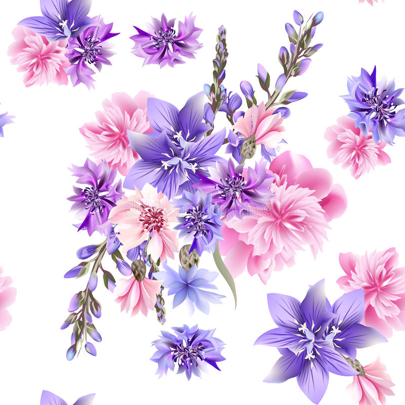 Floral seamless vector pattern with flowers in watercolor style stock illustration
