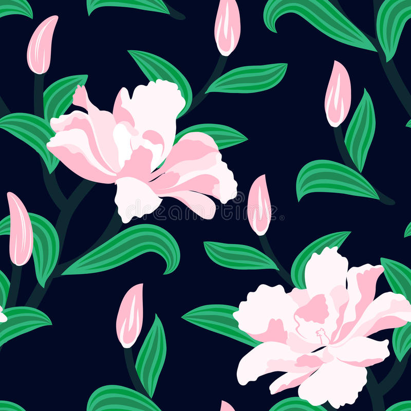 Floral seamless vector pattern with peony flowers stock illustration