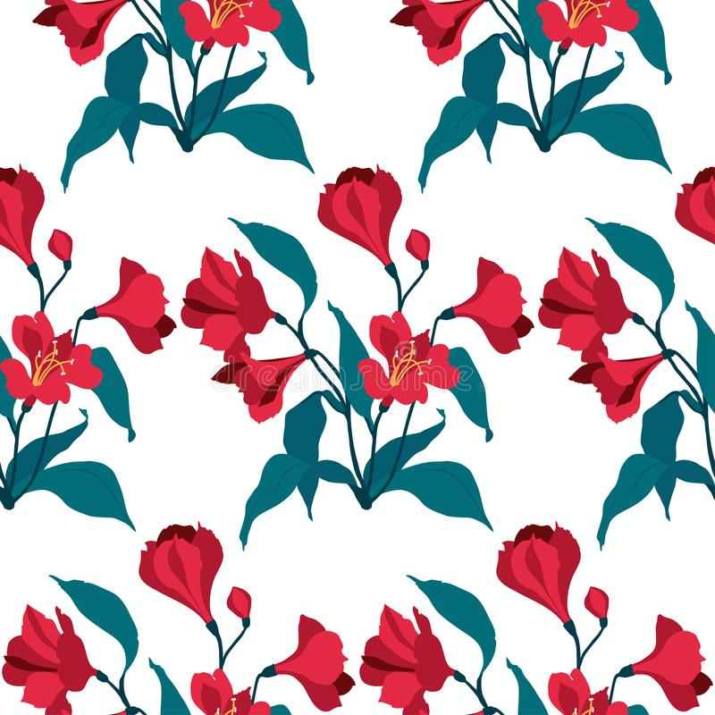 Floral seamless vector pattern. Red flowers alstromeria. Vector banner. Romantic banner. Wedding background royalty free illustration