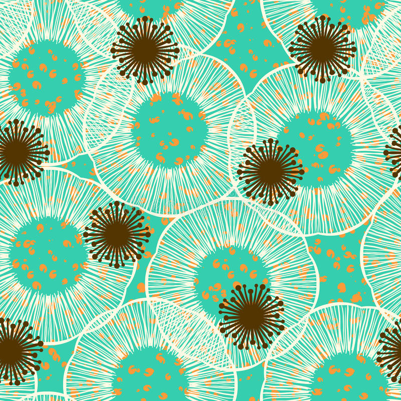 Floral seamless vector pattern in 50s style vector illustration