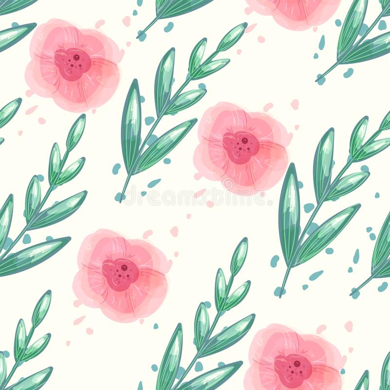 Floral seamless vector pattern with watercolor peony flowers. Repeat background with green leaf and pastel pink flower. royalty free illustration