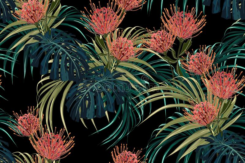 Floral seamless vector tropical pattern, spring summer background with exotic protea flowers, palm leaves. royalty free illustration