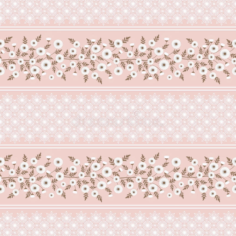 Floral seamless vintage patte Stylized silhouettes of flowers and branches on a pink background. green, white flowers and leaves. royalty free illustration