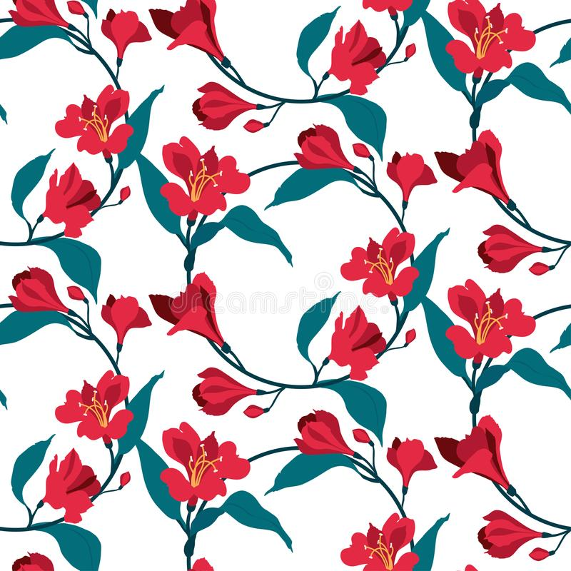 Floral seamless vector pattern. Red flowers alstromeria. Vintage banner. Floral seamless vintage pattern. Red flowers alstromeria. Vector background. Romantic stock illustration