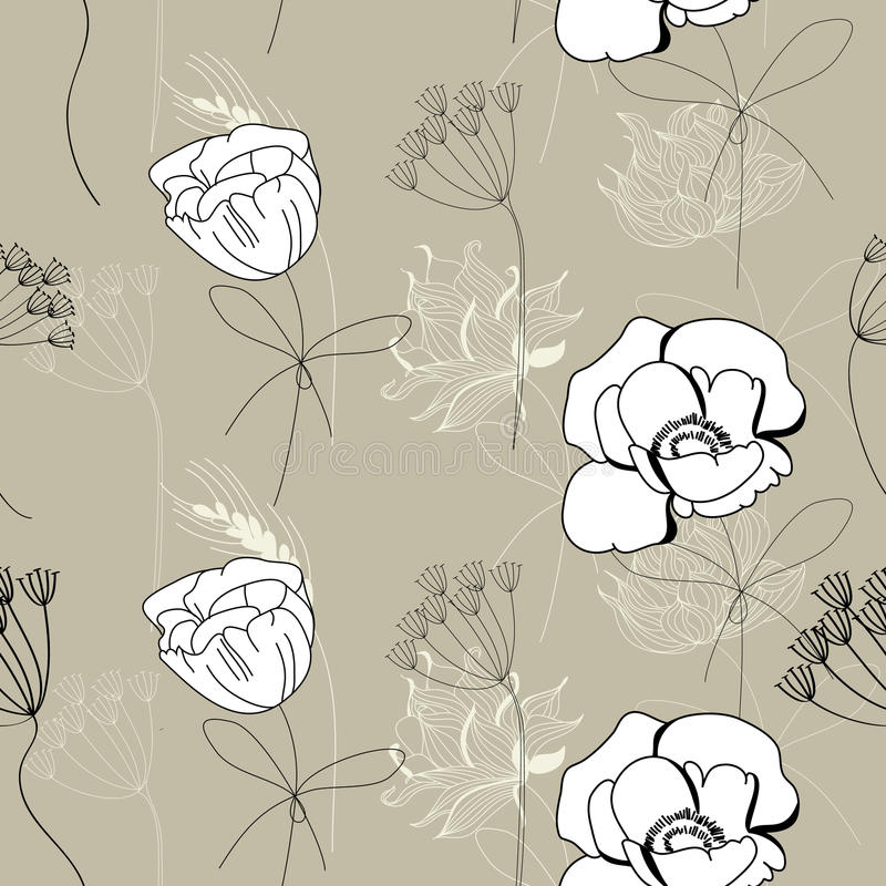 Download Floral seamless wallpaper stock vector. Illustration of floral - 14428821