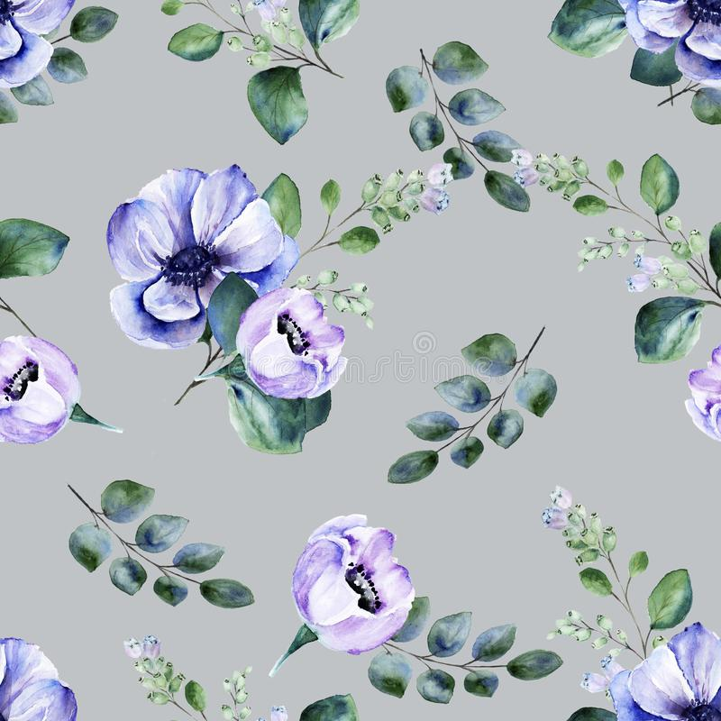 Floral seamless watercolor pattern with anemone flowers and blooming snowberry twigs on grey background royalty free stock photos