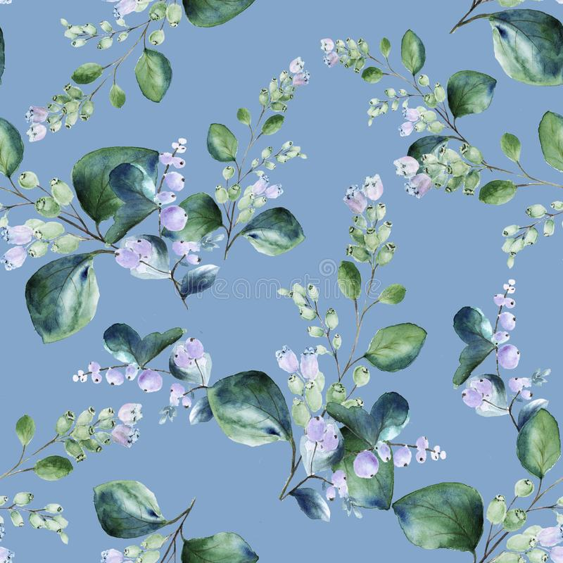 Floral seamless watercolor pattern with blooming snowberry twigs on pastel blue background stock photo