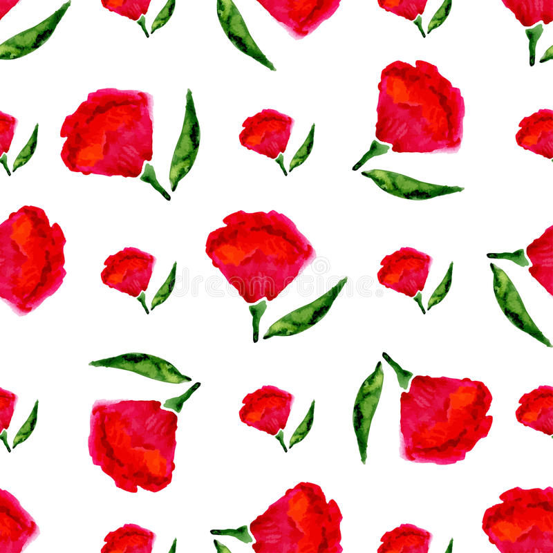 Floral seamless watercolor pattern. Vector bright red flowers on white background. Vector texture for fabric, print, textile etc. Floral seamless watercolor vector illustration