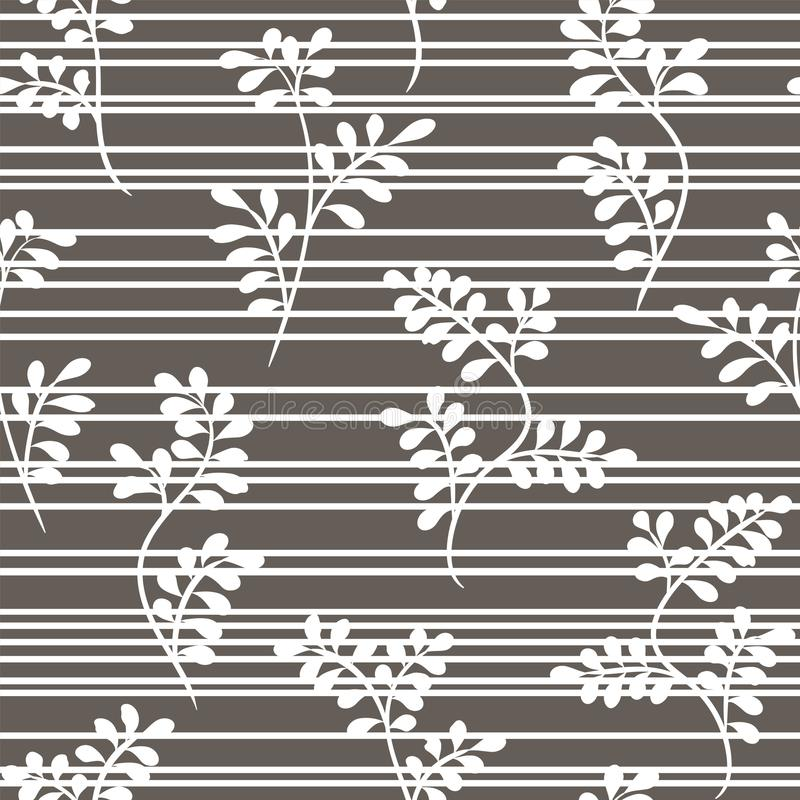 Floral seamless white pattern with twigs and stripes on a gray background Vector. royalty free illustration