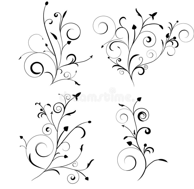 Floral set. Set of ornate florals to be used as design elements