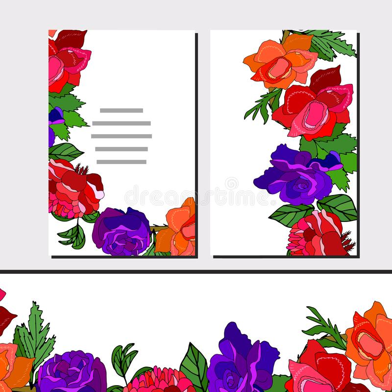 Floral set of templates for your design, greeting cards, festive announcements, posters. Floral set of cards with roses for your design, greeting cards, festive vector illustration