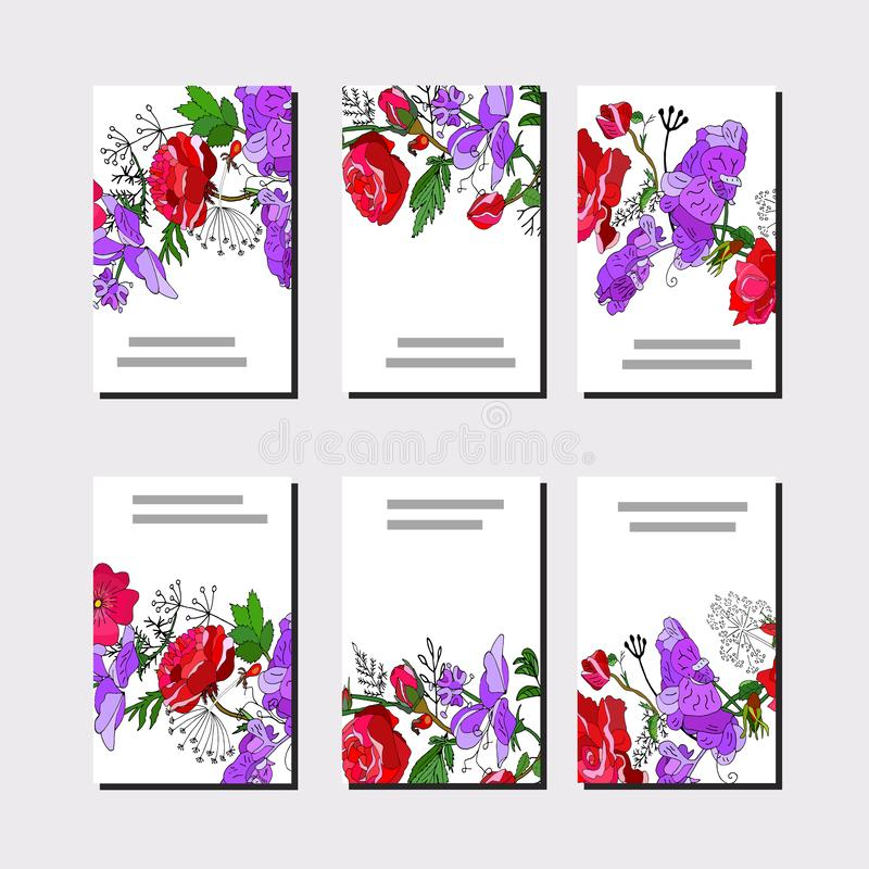 Floral set of templates for your design, greeting cards, festive announcements, posters. Floral set of 6 cards.Template with red rose and violet sweet pea for stock illustration