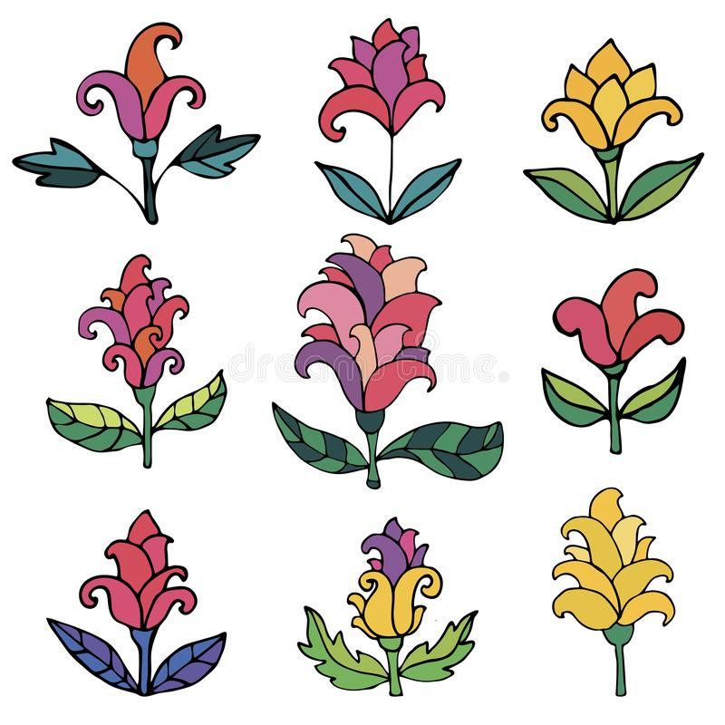 Colorful fantasy flowers set. Set of thin line doodle floral elements isolated. On white background. Vector illustration stock illustration