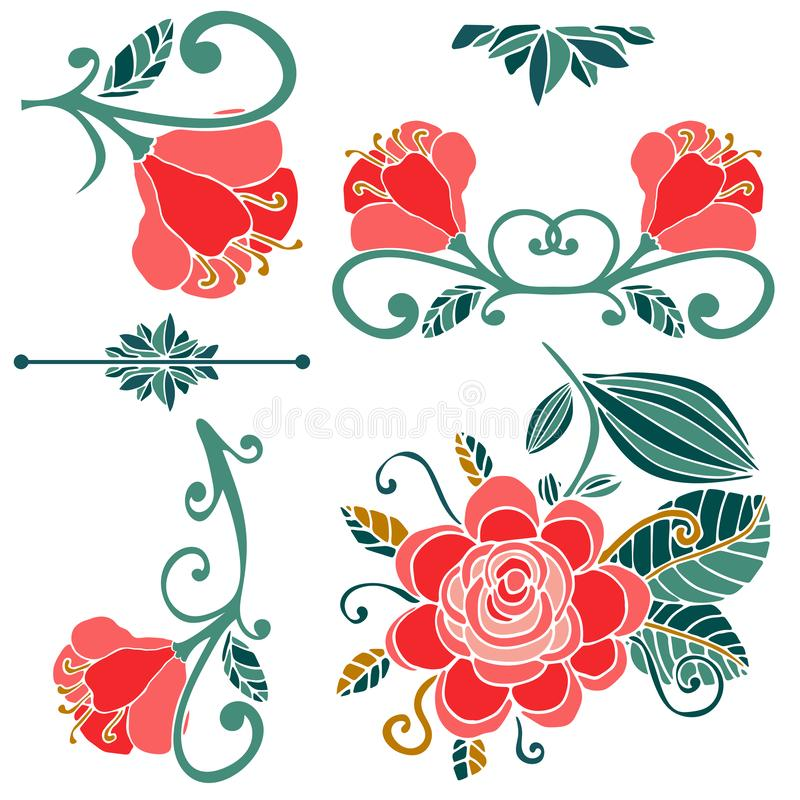 Colorful floral collection of pink, green, gold cute design elements. royalty free illustration