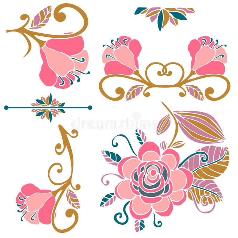 Colorful floral collection of pink, green, gold cute design elements. Paradise fantasy flowers with curls, leaves isolated on whit royalty free illustration