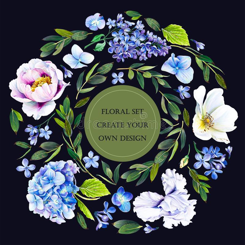 Floral set with flowers: hydrangea; lilac; iris, dog rose, peony and twigs with leaves. stock illustration