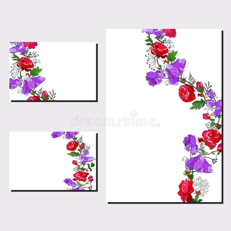 Floral set of templates for your design, greeting cards, festive announcements, posters. Floral template wit red rose and violet sweet pea for your design stock illustration