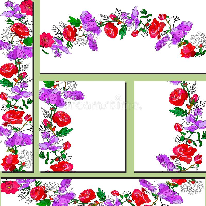 Floral set of templates for your design, greeting cards, festive announcements, posters. Templates with red roses and violet sweet pea flowers.Template for your stock illustration