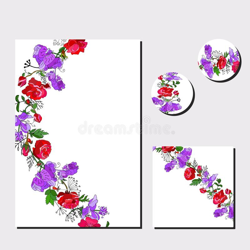 Floral set of templates for your design, greeting cards, festive announcements, posters. Floral template for your design, greeting cards, festive announcements vector illustration