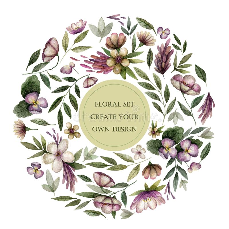 Floral set with vintage flowers and leaves in dark tone. stock illustration