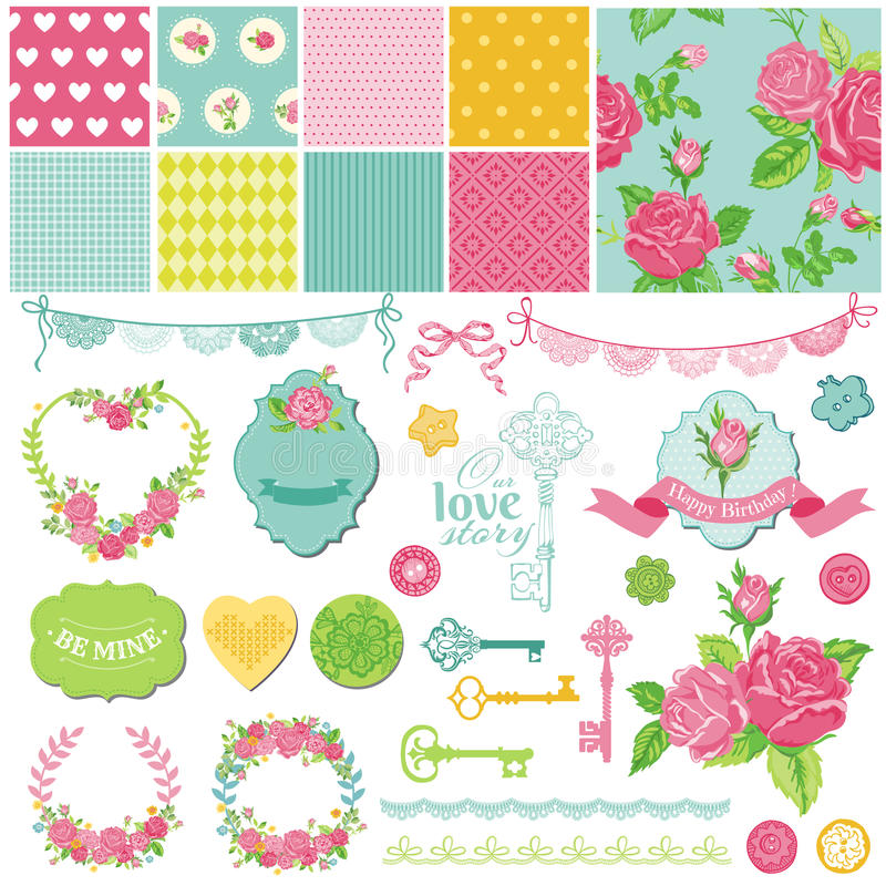 Floral Shabby Chic Theme Stock Vector Illustration Of