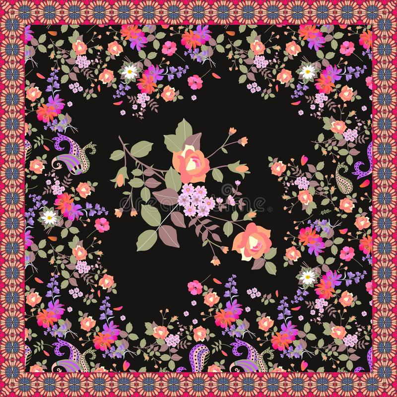 Floral shawl with beautiful garden flowers in watercolor style isolated on black background and ornamental frame.  stock illustration